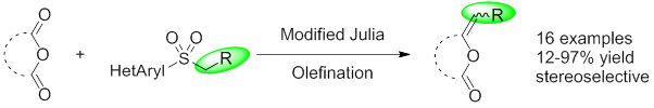 Modified Julia Olefination on Anhydrides: Extension and Limitations. Application to the Synthesis of Maculalactone B. Nicolas Dussart, Huu Vinh Trinh, David Gueyrard Org. Lett., 2016, 18, 4790-4793.